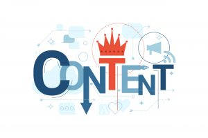 Content writing is king concept with the words content, crown over the letter T and other icons in the background