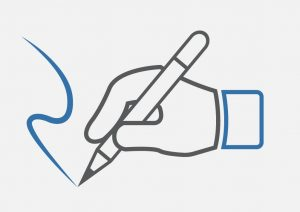 Hand Writing for Legal Marketing in Blue Ink Concept