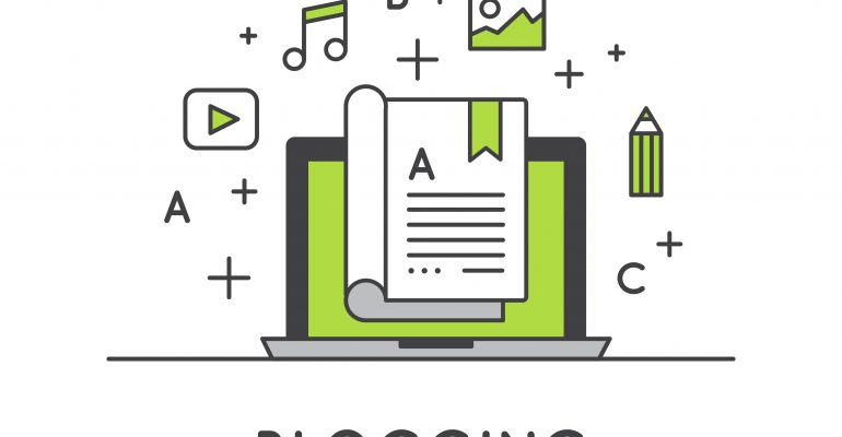 What type of legal blog post works best concept with icons representing blogging such as a computer monitor, book, pencil, image, music note, play button