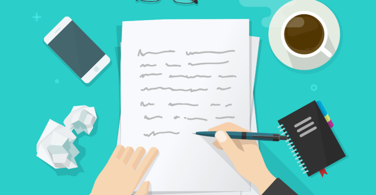 Law article writing concept with cartoon hands writing on a stack of papers with a pen on a turquoise table with eyeglasses, coffee, cell phone, pencil, crumpled paper and a closed notepad arranged around the legal article being written