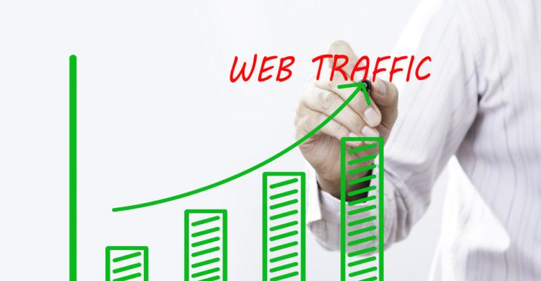 Website metrics bar chart indicating increased online traffic